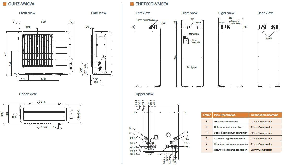 mitsubishi electric ecodan quhz-w40va / ehpt20q-vm2ea air source heat pump  with thermal